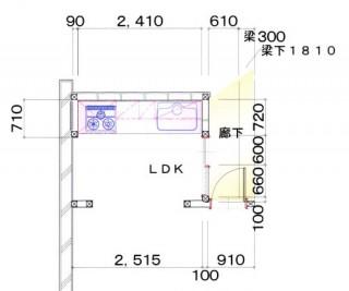 福岡市 キッチンリフォーム施工例 改装前平面図