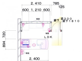福岡市 キッチンリフォーム施工例 改装後平面図